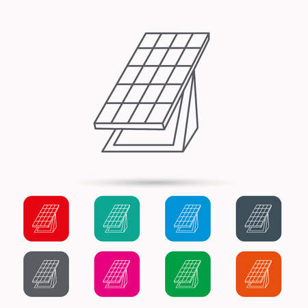 solar collector: Solar collector icon. Sunlight energy generation sign. Innovation battery power symbol. Linear icons in squares on white background. Flat web symbols. Vector Illustration