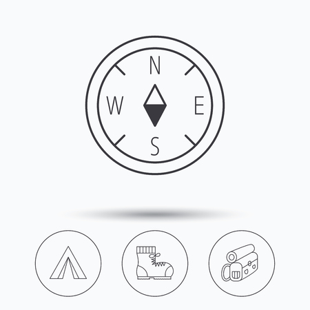 to tend: Backpack, camping tend and hiking boots icons. Compass linear sign. Linear icons in circle buttons. Flat web symbols. Vector