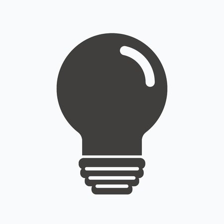 illumination: Light bulb icon. Lamp sign. Illumination technology symbol. Gray flat web icon on white background. Vector