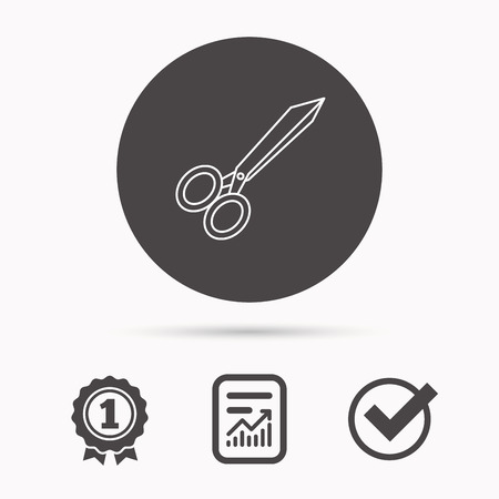 hairdressing scissors: Tailor scissors icon. Hairdressing sign. Grooming symbol. Report document, winner award and tick. Round circle button with icon. Vector