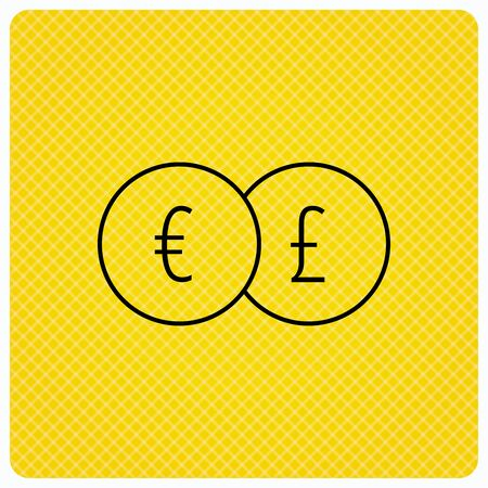 pound symbol: Currency exchange icon. Banking transfer sign. Euro to Pound symbol. Linear icon on orange background. Vector