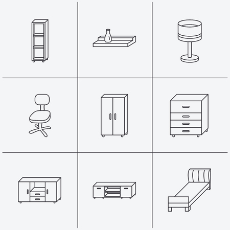 shelving: Single bed, TV table and shelving icons. Office chair, table lamp and cupboard linear signs. Wall shelf, chest of drawers icons. Linear icons on white background. Vector