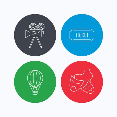 theatre masks: Video camera, ticket and theatre masks icons. Air balloon linear sign. Linear icons on colored buttons. Flat web symbols. Vector