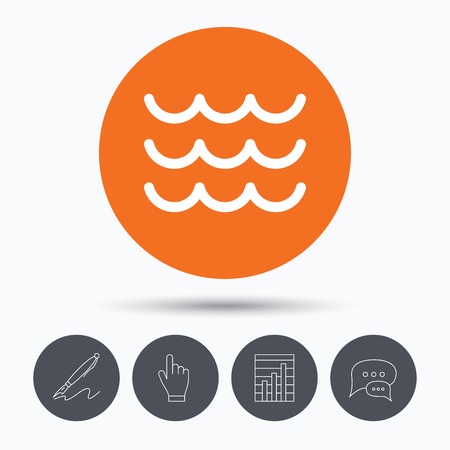 water stream: Wave icon. Water stream symbol. Speech bubbles. Pen, hand click and chart. Orange circle button with icon. Vector