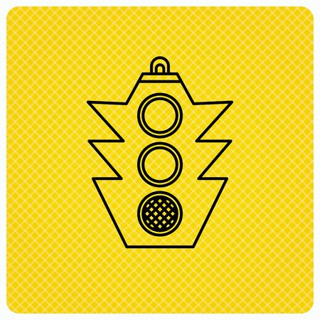 Traffic light icon. Safety direction regulate sign. Linear icon on orange background. Vector Illustration
