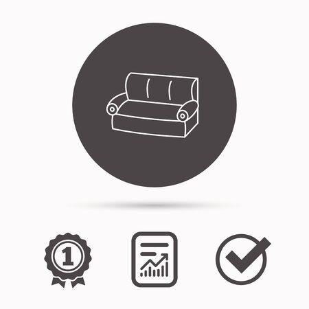 Divano icona. segno comodo divano. simbolo mobili. Rapporto documento, premio vincitore e tick. Tasto rotondo cerchio con l'icona. Vettore