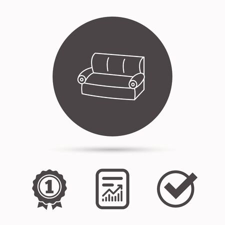 Sofa icon. Comfortable couch sign. Furniture symbol. Report document, winner award and tick. Round circle button with icon. Vector Illustration