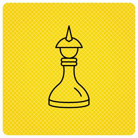 mind game: Strategy icon. Chess queen or king sign. Mind game symbol. Linear icon on orange background. Vector