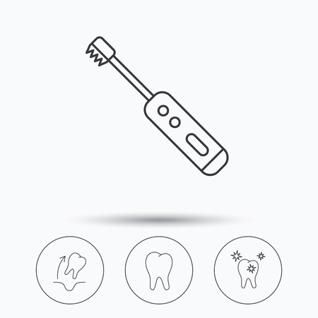 paradontosis: Tooth extraction, electric toothbrush icons. Healthy teeth linear sign. Linear icons in circle buttons. Flat web symbols. Vector