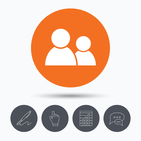 friend chart: Friends icon. Group of people sign. Communication symbol. Speech bubbles. Pen, hand click and chart. Orange circle button with icon. Vector Illustration