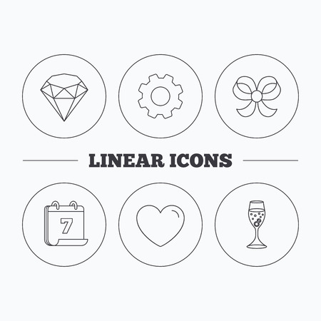 shopping champagne: Love heart, brilliant and engagement ring icons. Bow-knot linear sign. Flat cogwheel and calendar symbols. Linear icons in circle buttons. Vector Illustration