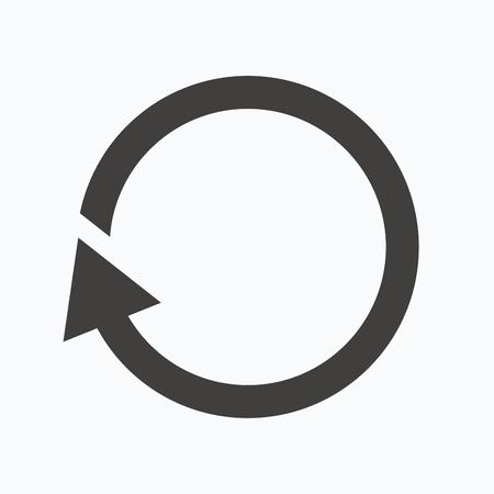 refrescar: Icon. Actualizar o repetir símbolo. Gris icono banda plana en el fondo blanco. Vector