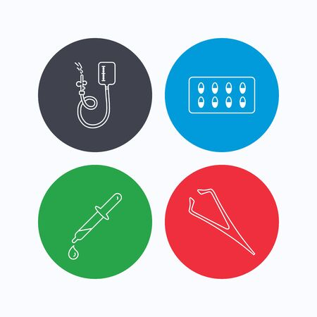 tweezers: Drop counter, capsules and pipette icons. Eyebrow tweezers linear sign. Linear icons on colored buttons. Flat web symbols. Vector Illustration
