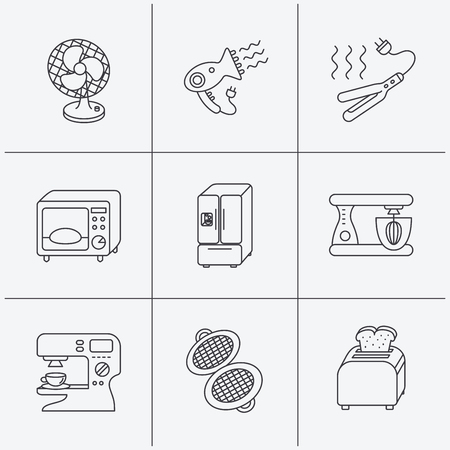 coffee blender: Microwave oven, hair dryer and blender icons. Refrigerator fridge, coffee maker and toaster linear signs. Ventilator, curling iron and waffle-iron icons. Linear icons on white background. Vector Illustration