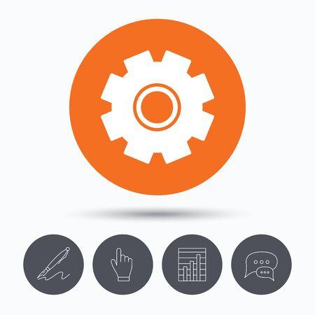 bubble pen: Cogwheel icon. Repair service symbol. Speech bubbles. Pen, hand click and chart. Orange circle button with icon. Vector