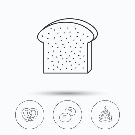 bread rolls: Cake, pretzel and bread rolls icons. Toast linear sign. Linear icons in circle buttons. Flat web symbols. Vector