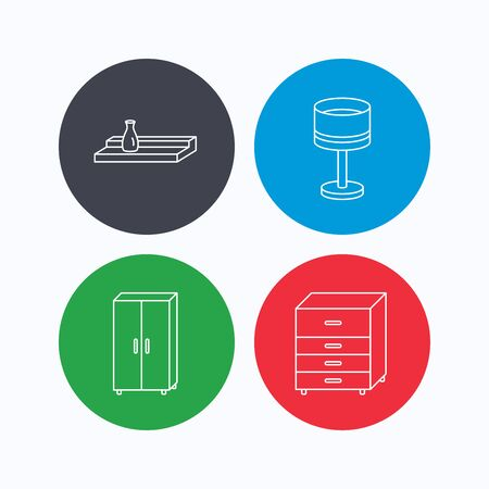 chest wall: Table lamp, cupboard and wall shelf icons. Chest of drawers linear sign. Linear icons on colored buttons. Flat web symbols. Vector