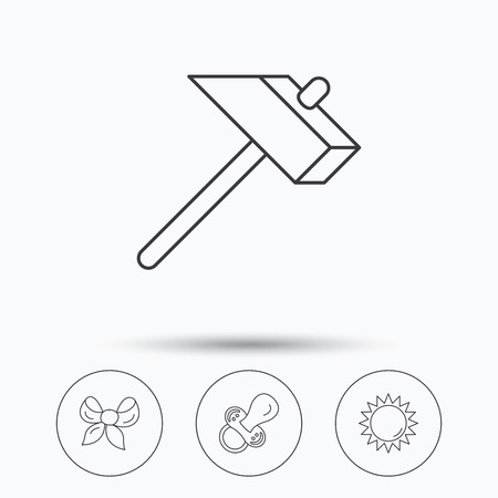 bowknot: Hammer, pacifier and sun icons. Bow-knot linear sign. Linear icons in circle buttons. Flat web symbols. Vector