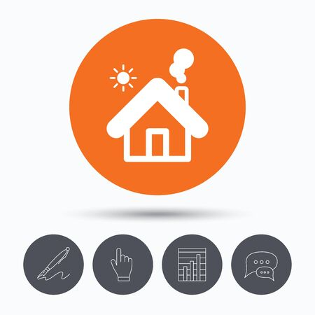 bubble pen: Home icon. House building symbol. Real estate construction. Speech bubbles. Pen, hand click and chart. Orange circle button with icon. Vector