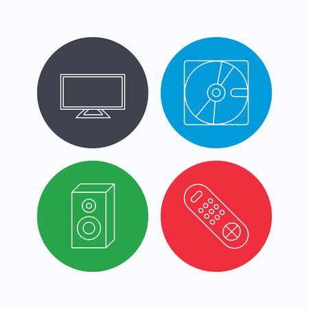 tv remote: Sound, TV remote and hard disk icons. Widescreen TV linear sign. Linear icons on colored buttons. Flat web symbols. Vector Illustration