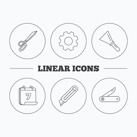 unpack: Paper knife, spatula and scissors icons. Multi-tool knife linear sign. Flat cogwheel and calendar symbols. Linear icons in circle buttons. Vector