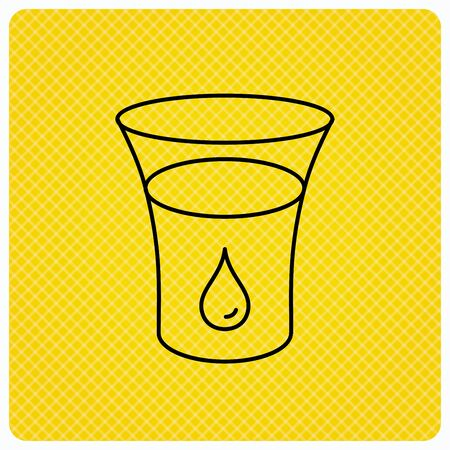 Glass of water icon. Drop sign. Linear icon on orange background. Vector