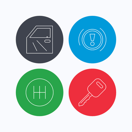 gearbox: Car key, warning and manual gearbox icons. Car door, transmission linear signs. Linear icons on colored buttons. Flat web symbols. Vector