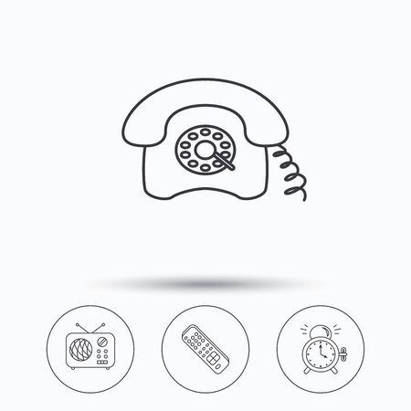 tv remote: Retro phone, radio and TV remote icons. Alarm clock linear sign. Linear icons in circle buttons. Flat web symbols. Vector Illustration