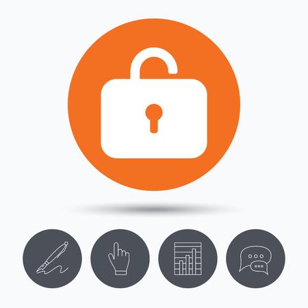 private access: Lock icon. Privacy locker sign. Private access symbol. Speech bubbles. Pen, hand click and chart. Orange circle button with icon. Vector Illustration