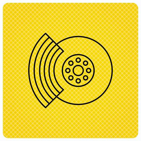 brakes: Brakes icon. Auto disk repair sign. Linear icon on orange background. Vector