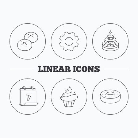 bread rolls: Cupcake, cake and bread rolls icons. Sweet donut linear sign. Flat cogwheel and calendar symbols. Linear icons in circle buttons. Vector Illustration