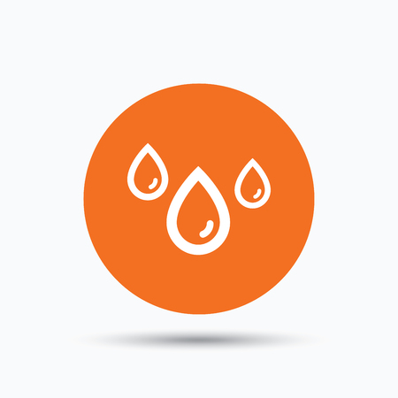 humid: Water drop icon. Rainy weather symbol. Orange circle button with flat web icon. Vector