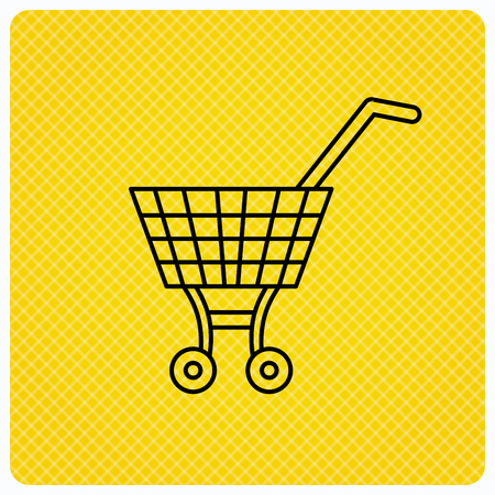 Shopping cart icon. Market buying sign. Linear icon on orange background. Vector