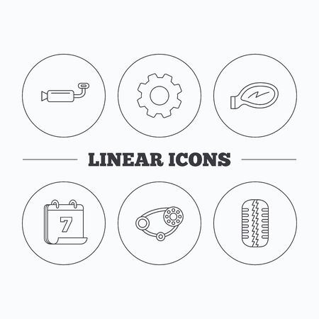 timing belt: Tire tread, car mirror and timing belt icons. Muffler linear sign. Flat cogwheel and calendar symbols. Linear icons in circle buttons. Vector Illustration