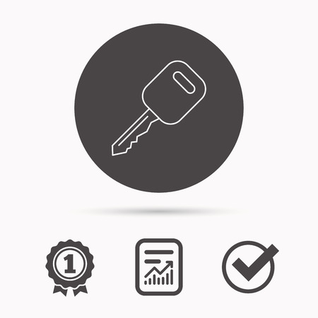 car lock: Car key icon. Transportat lock sign. Report document, winner award and tick. Round circle button with icon. Vector Illustration