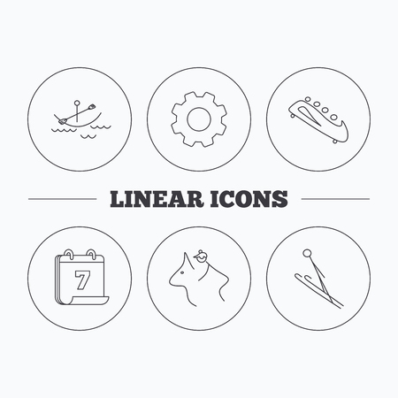 horseback: Boating, horseback riding and bobsled icons. Ski jumping linear sign. Flat cogwheel and calendar symbols. Linear icons in circle buttons. Vector