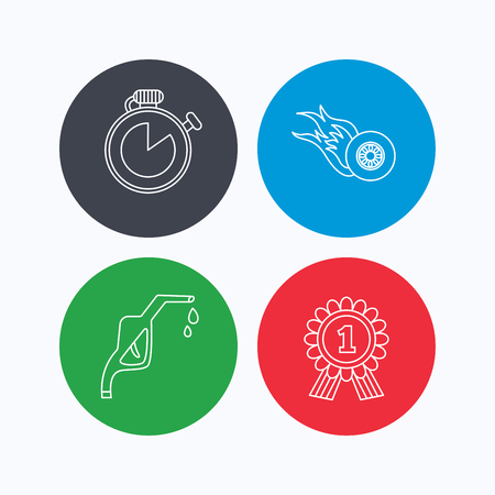 race winner: Winner award, petrol station and speed icons. Race timer linear sign. Linear icons on colored buttons. Flat web symbols. Vector