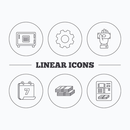 give money: Give money, cash money and ATM icons. Safe box linear sign. Flat cogwheel and calendar symbols. Linear icons in circle buttons. Vector