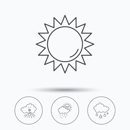 day forecast: Weather, sun and wind icons. Rainy day linear sign. Linear icons in circle buttons. Flat web symbols. Vector