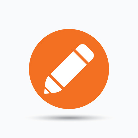 edit icon: Edit icon. Pencil for drawing symbol. Orange circle button with flat web icon. Vector