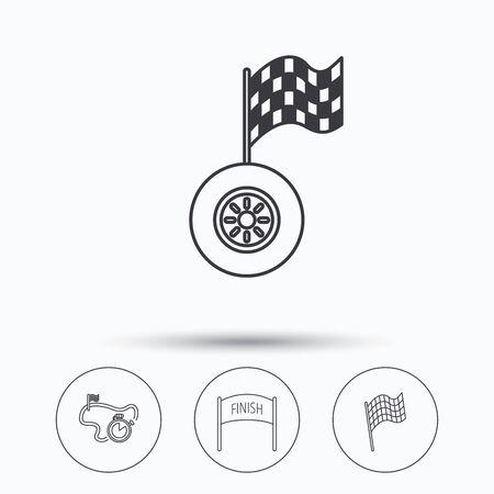 bandera carreras: Terminar bandera, temporizador de carrera y los iconos de las ruedas. pista de carreras señal lineal. iconos lineales en los botones del círculo. símbolos web planas. Vector
