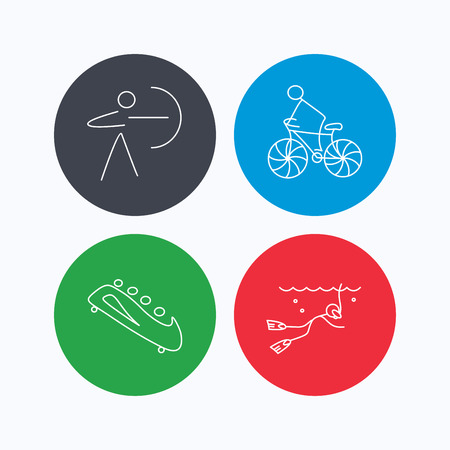 bobsled: Diving, biking and archery icons. Bobsled linear sign. Linear icons on colored buttons. Flat web symbols. Vector