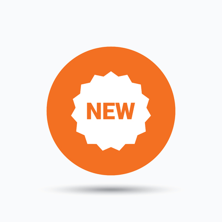 New icon. Special offer star symbol. Orange circle button with flat web icon. Vector Illustration