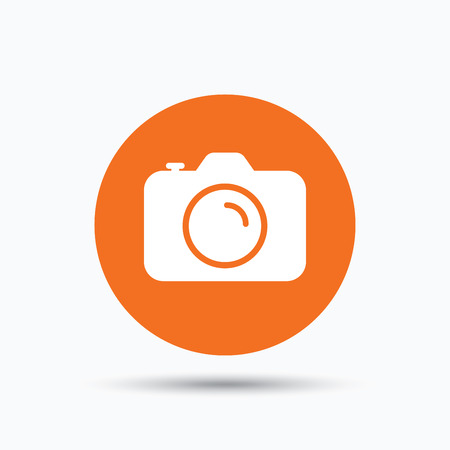 Camera icon. Professional photocamera symbol. Orange circle button with flat web icon. Vector Illustration
