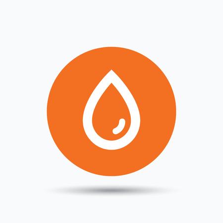 Water drop icon. Natural aqua symbol. Orange circle button with flat web icon. Vector Illustration