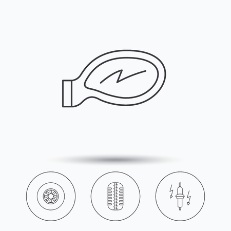 tread: Wheel, car mirror and spark plug icons. Tire tread linear sign. Linear icons in circle buttons. Flat web symbols. Vector Illustration