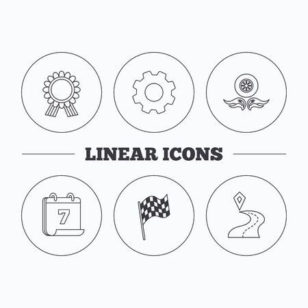 race winner: Winner award medal, destination and flag icons. Race flag, wheel on fire linear signs. Flat cogwheel and calendar symbols. Linear icons in circle buttons. Vector Illustration