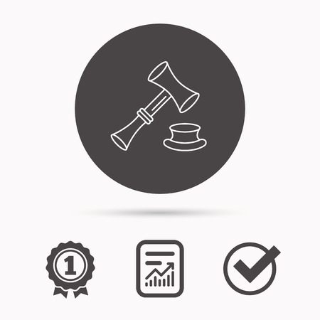 law report: Auction hammer icon. Justice and law sign. Report document, winner award and tick. Round circle button with icon. Vector