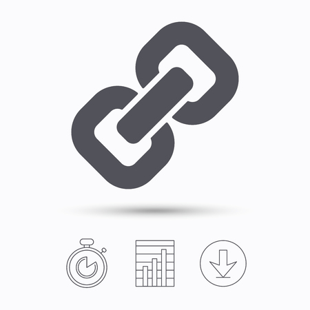 hyperlink: Chain icon. Internet web hyperlink symbol. Stopwatch, chart graph and download arrow. Linear icons on white background. Vector