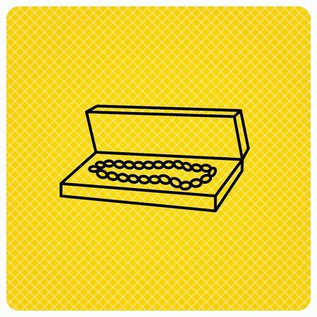 jewelry box: Jewelry box icon. Luxury precious sign. Linear icon on orange background. Vector Illustration